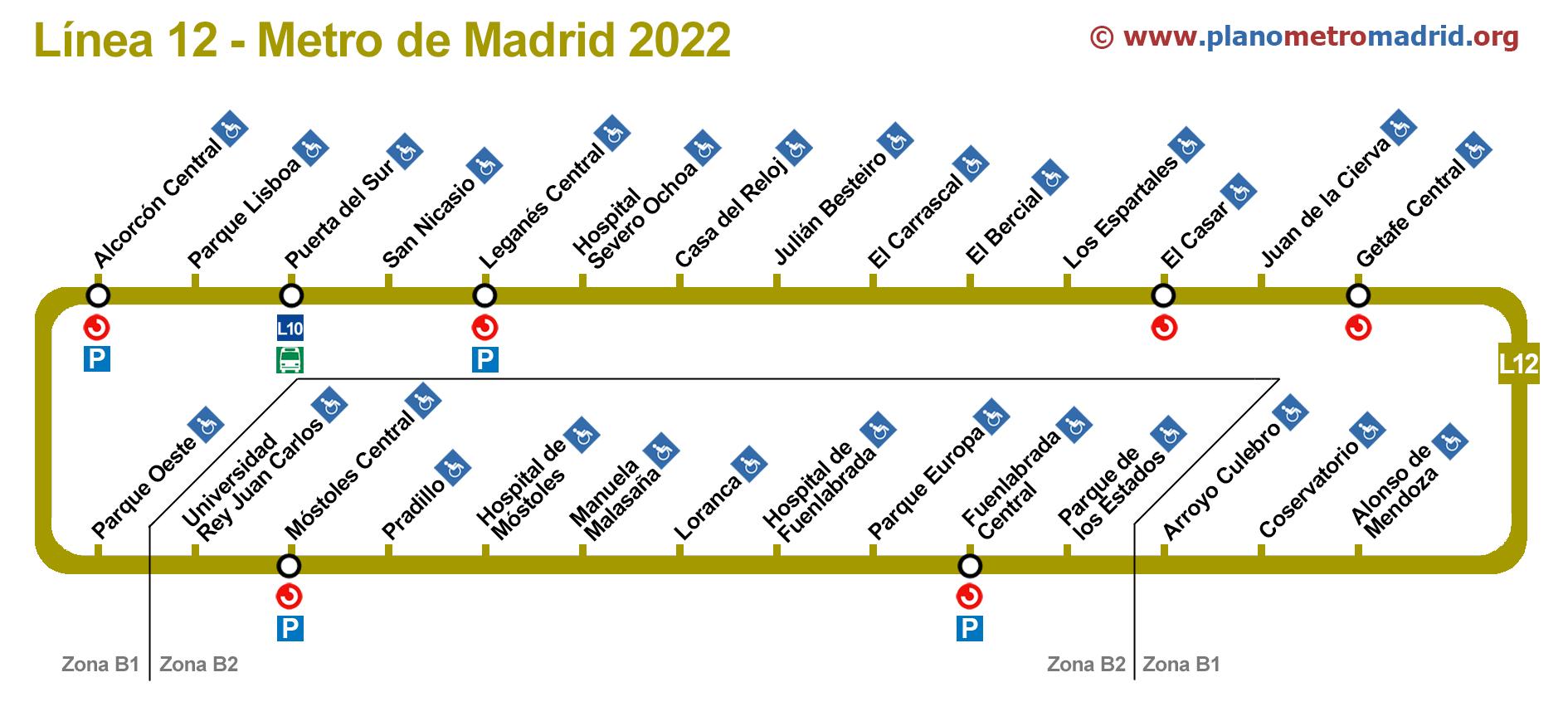 Central Subway Map.Line 12 Subway Madrid Metrosur L12 Updated 2019