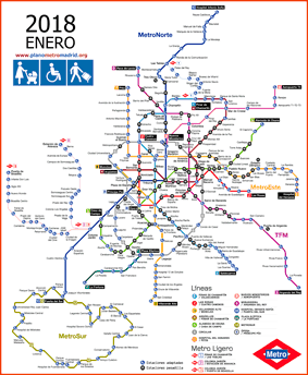 Madrid metro map 2018 adapted, wheelchairs, luggages