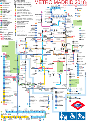 Madrid metro map schematic 2018, adapted for prams, disabled, luggage