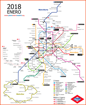 Madrid metro map 2018